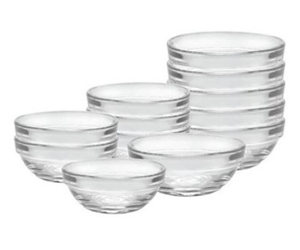 Duralex 12 Piece Bowl Set of Six, Clear