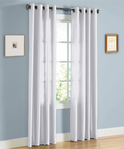 HLC.ME Pair of White Faux Silk Grommet Curtain Panels