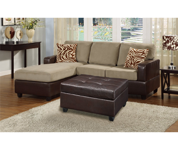 9. Bobkona Manhanttan Reversible Microfiber 3-Piece Sectional