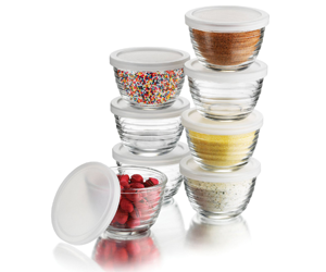 Libbey 6.25-Ounce Small Bowls--with Plastic Lids