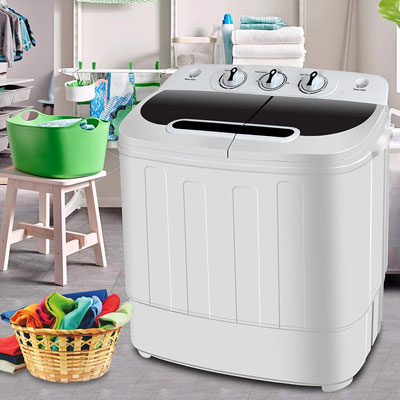4. SUPER DEAL Portable Compact Mini Twin Tub Washing Machine