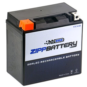 9. Chrome Battery YTX14-BS Maintenance Free Motorcycle Battery