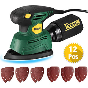 9. TECCPO Mouse Detail Sander with 12Pcs Sandpaper
