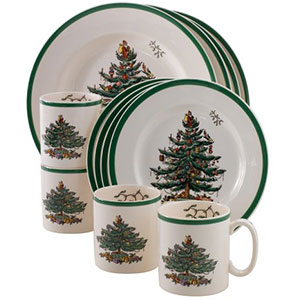 10. Spode Christmas Tree 12-Piece Dinnerware Set