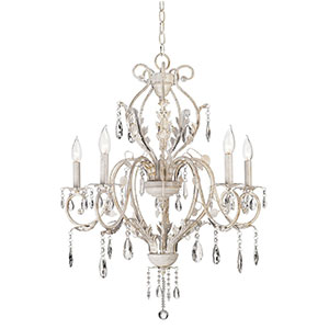 5. Kathy Ireland Devon 5-Light Antique White Crystal Chandelier