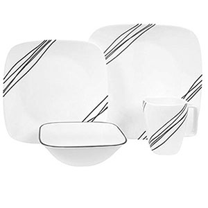 1. Corelle Square 16-Piece Dinnerware Set