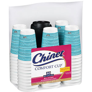 3. Chinet Comfort Cup 16-Ounce Cups, 50-Count Cups and Lids
