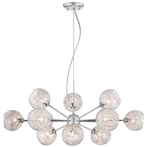 10. Possini Euro Wired 32 inch Wide Glass and Chrome Chandelier