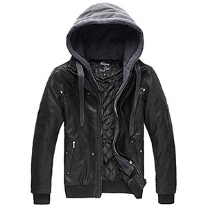 4. WantDo Faux Leather Jacket with Removable Hood