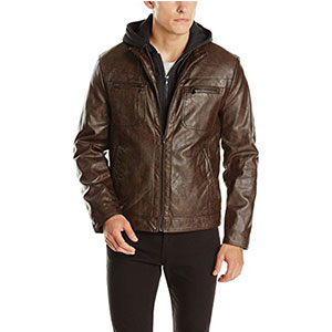 2. Kenneth Cole REACTION Faux-Leather Jacket with Hood