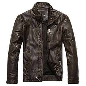 3. Chouyatou Men's Vintage Stand Leather Jacket