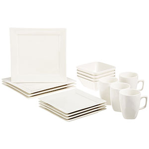 7. AmazonBasics 16-Piece Classic White Dinnerware Set
