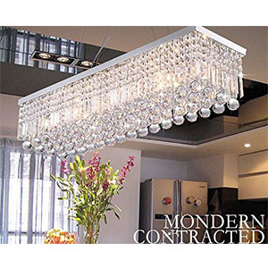 6. Ella Fashion CRYSTOP Clear K9 Crystal Chandelier Dining Room Light Fixtures