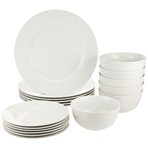 3. AmazonBasics 18-Piece Dinnerware Set