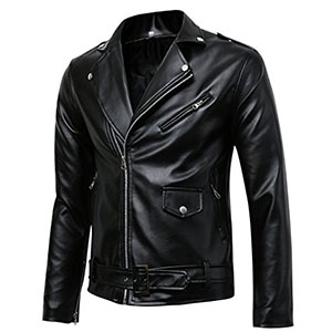 9. Benibos Men's Faux Leather Jacket (Classic Police Style)