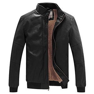 6. WenVen Men's Winter Faux Leather Jackets