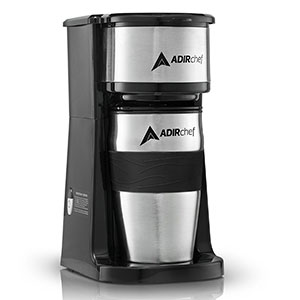 2. AdirChef Grab N' Go Personal Coffee Maker with 15 oz. Travel Mug
