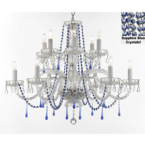 3. Gallery Authentic all crystal chandelier chandeliers lighting with sapphire blue crystals