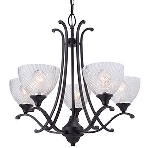 7. CO-Z Five-Light Clear Cross-grained Glass Shade chandelier with Oil Rubbed Bronze finish