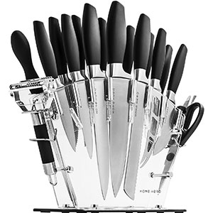 5. Home Hero Stainless Steel Steak Knife Set with Block