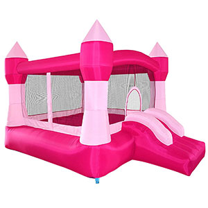 6. Cloud 9 Princess Pink Castle Theme Inflatable Bounce House