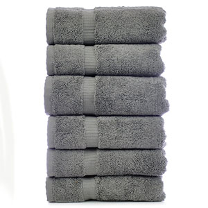 2. Chakir Turkish Linens Gray Hotel & Spa Hand Towel (Set of 6)