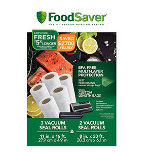 "3. FoodSaver 8"" & 11"" Rolls with unique multi layer construction"
