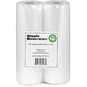 "5. Simple Houseware11"" x 50' Vacuum Sealer Rolls (2 Pack)"
