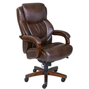9. La Z Boy Brown Leather Office Chair
