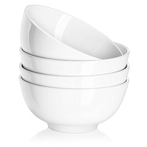 1. DOWAN 22oz White Soup/Cereal Bowls (4 Packs)
