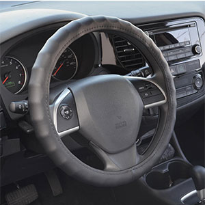 2. BDK Leather Car Steering Wheel Cover