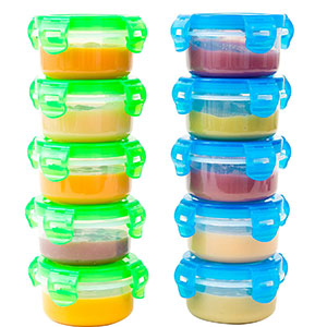 6. Elacra 3.4 oz Baby Food Storage Freezer Containers (10-Piece)
