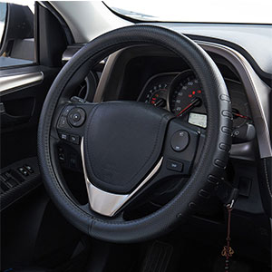 6. FMS Genuine Leather Steering Wheel Cover