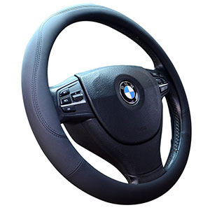 10. Valleycomfy Black Leather Steering Wheel Covers