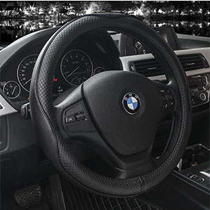 9. Valleycomfy Genuine Leather Steering Wheel Covers (Black with Black Lines)