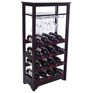9. Merry Espresso 16-Bottle Wine Rack