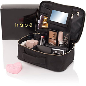 5. habe Travel Makeup Bag with Mirror