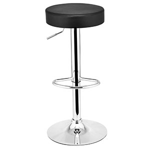 6. COSTWAY Leather Adjustable Round Bar Stool
