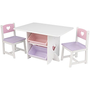 9. KidKraft Heart Set of Table and Chairs
