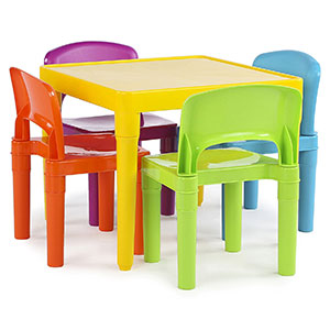 1. Tot Tutors Plastic Table and Chairs Set for Kids