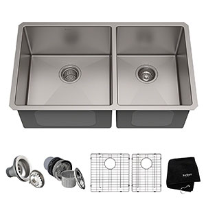 9. Kraus KHU103-33 Double Bowl Kitchen Sink