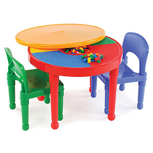2. Tot Tutors 2-in-1 Plastic Table and Chairs LEGO-Compatible