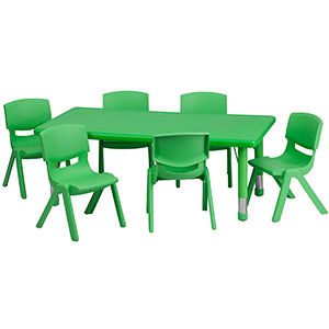 4. Flash Furniture Green Set of Plastic Table and Chairs
