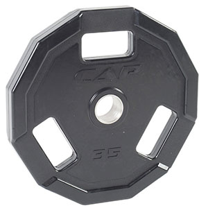 5. CAP Barbell Olympic 2-Inch 3-Grip Rubber Plate (Single)