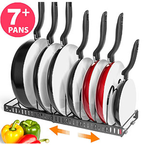 3. BetterThingsHome Expandable 7+ Pans and Pots Organizer