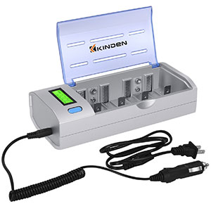 7. Kinden Batteries Charger with Car Charging Port