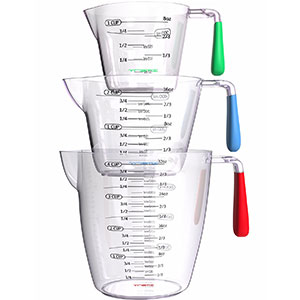 3. Vremi Plastic Measuring Cups Set (3 Piece)