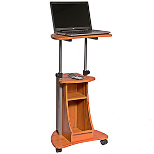 2. Techni Mobili Adjustable Laptop Cart with Storage (Woodgrain)