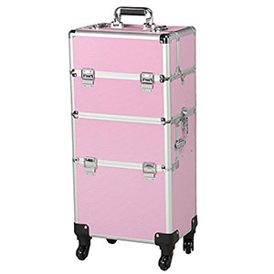 2. Yaheetech Pink Multifunction Rolling Makeup Train Case