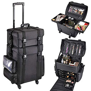 5. AW Oxford Fabric Rolling Makeup Train Case